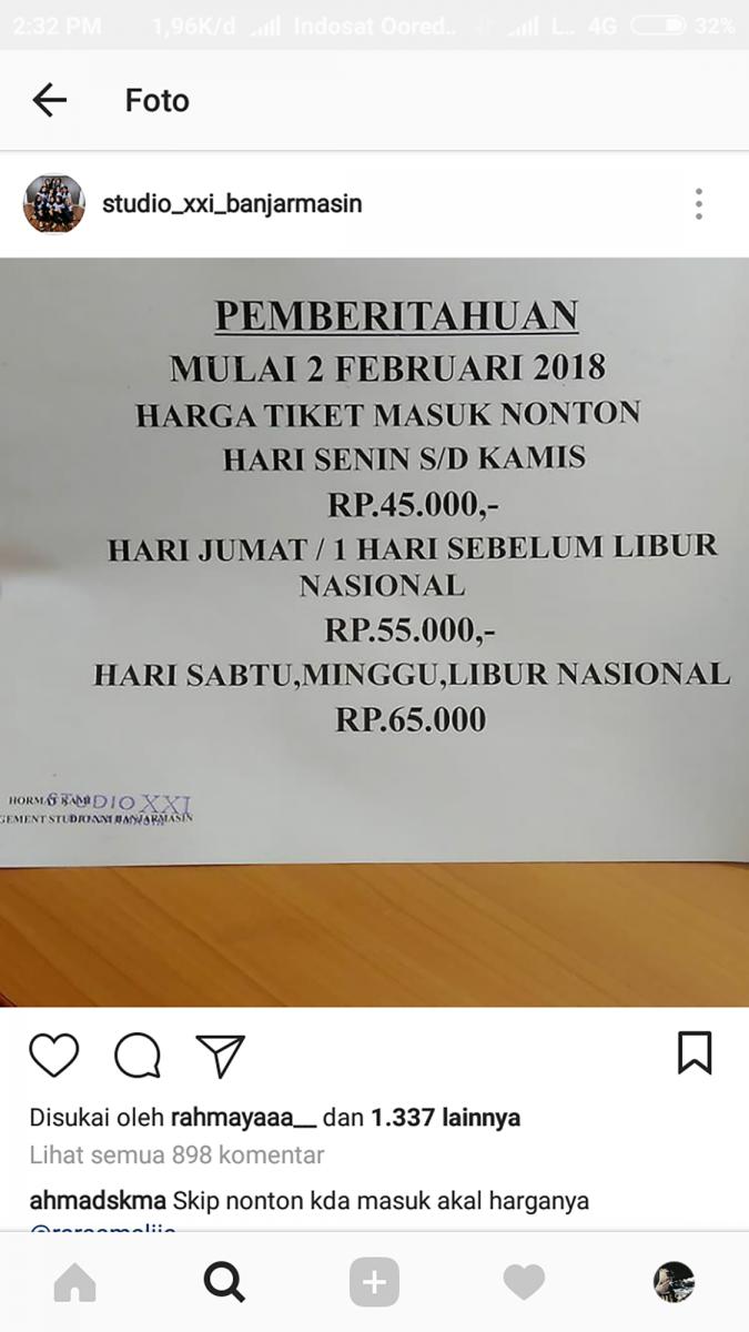 Tiket Nonton Xxi Banjarmasin Naik Warga Komplain Fasilitas Bioskop