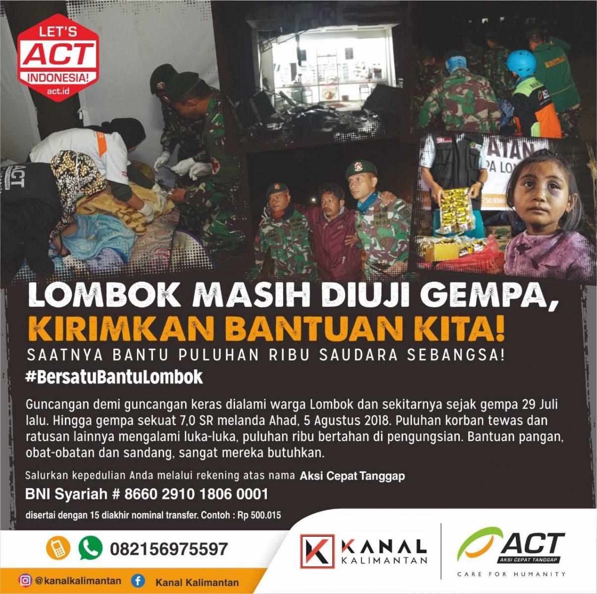 Donasi ACT Gempa Lombok